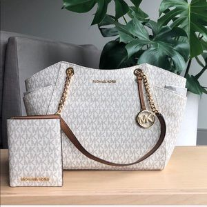 Michael Kors Vanilla/Acorn Tote and Wallet